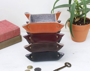Small leather and felt trinket trays