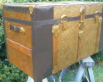 Antique Trunk with Embossed Metal on Front and Top, Refinished, ca 1900