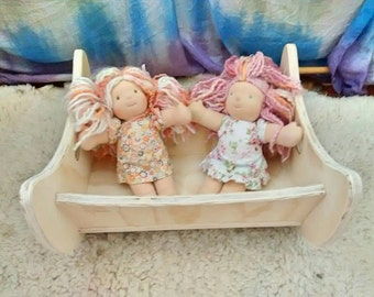 Wooden doll cradle / Waldorf pretend play / Waldorf doll