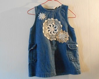 up cycled denim jean jumper doilies  for girls 24 months