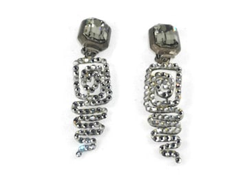Bellini by Formart Huge Crystal Clip On Earrings Squiggles