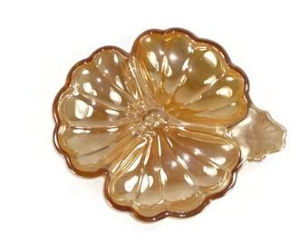 Jeannette Doric Marigold Carnival Glass Shamrock Candy Dish Vintage Clover
