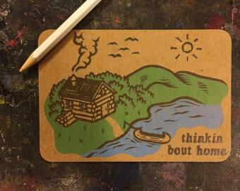 Linocut Postcard - Thinkin Bout Home