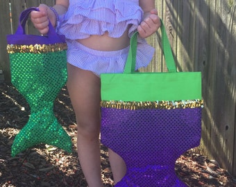 LITTLE MERMAID Party Favor Tote- ARIEL Swimming Party Tote- Small