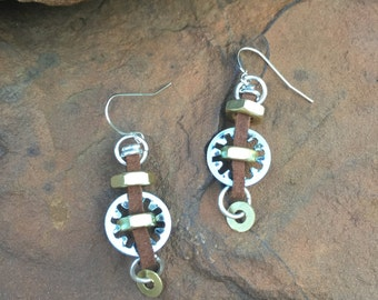 Hardware Earrings:  Sometimes You Feel Like A Nut - Hardware Washer Jewelry, Repurposed, Recycled, Upcycled