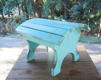 Rustic Wood Adirondack Farmhouse Arched Turquoise Painted Footstool Vintage 1980s Primitive Wood Footstool Farmhouse Cottage Victorian Porch