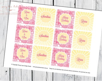 You are My Sunshine PERSONALISED 2 inch spots, Cupcake Toppers, 2inch squares, 1st birthday, Girls Birthday, Baby Shower