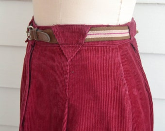 vintage 1970s or 1980s red corduroy skirt / Small or Medium vintage magenta wide wale midi skirt / belted corduroy maxi skirt / plum purple