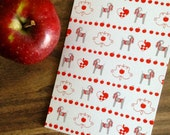 Christmas Goat Greeting Card with Red Apples and Swedish Paper Hearts (Blank)