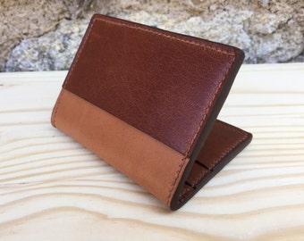 Cognac Cardholder - Handstitched Leather Wallet