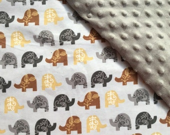Baby Car Seat Canopy COVER or NURSING Cover: Brown and Grey Elephants on Grey with Grey Minky, Personalization Available