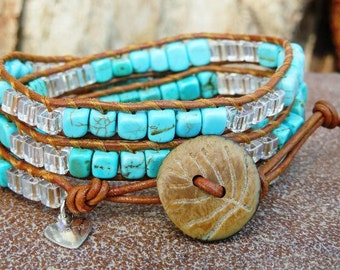 Turquoise Waters Wrap Bracelet Tobacco Greek Leather, Turquoise, Swarovski crystal AB cubes accented with wood leaf carved button closure