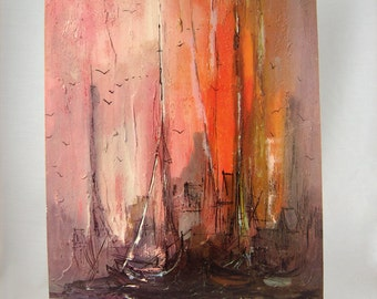 Mid Century Modern Lithograph Wall Print Tall Masts by Danny Garcia