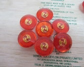 12 Vintage 19 mm Translucent Orange Red Tone Round Button with Embedded Leave Design with Glitter