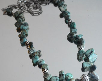 Genuine Natural Turquoise Nuggets 925 Solid Sterling Silver Necklace Bali Beads Handmade African Balls Tribal Ethnic Southwestern Beaded