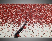 Painting Art Acrylic Painting on Canvas Art Wall Art Red Cherry Tree 48 x 24 Beige Yellow Abstract Art Deco Painting MADE TO ORDER by ilonka