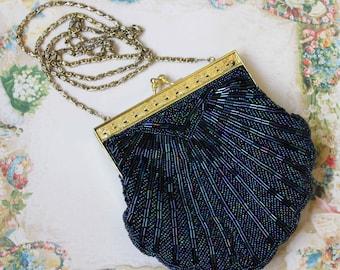 Sea Shell Black Iridescent Beaded Evening Clutch Purse Bag w Chain Art Deco