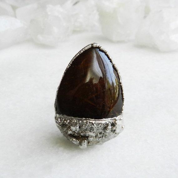 ON SALE rutile quartz ring, rutilated quartz, silver ring, statement ring, huge ring, cocktail ring, druzy ring