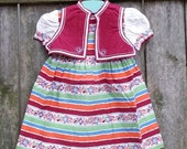 Vintage Nannette Toddler Striped / Print Dress with Vest