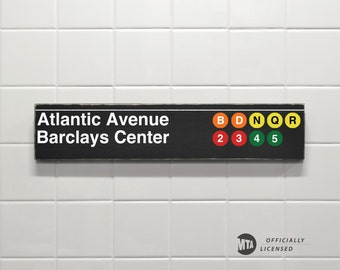 Atlantic Avenue Barclays Center - New York City Subway Sign - Wood Sign