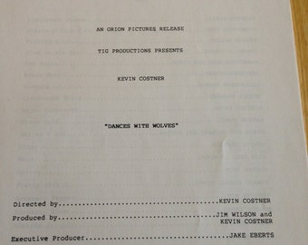 Movie press Kit, Dances with Wolves, 1990.