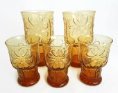 Libbey Country Garden Glasses, Set of 5, Embossed Daisies, 1970's Boho Kitchen