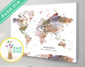 Personalized Push Pin Large World Map CANVAS Terra Watercolors - Countries, Capitals, USA and CANADA States - Gift Idea Pin It Map, 240 Pins