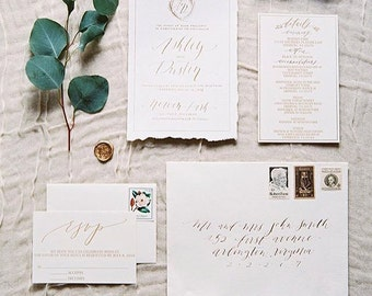 Custom Hand Lettered in Calligraphy Wedding Invitation Suite Hand Torn Hand Made Paper