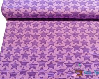 0,5 x 1,60 m stretch Jersey Cotton Knit JOY STARS, 95/5% cotton/spandex, purple