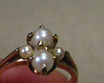 Vintage 10kt Gold Multi Pearl Ring, Size 7, signed H - Art Deco Style