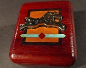 Vintage Wood Block Southwestern Style Leaping Silver Metal Horse With Wood Marquerty