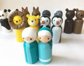 Noah's Ark Toy - Build Your Own - Noah's Ark - Wooden Peg Dolls