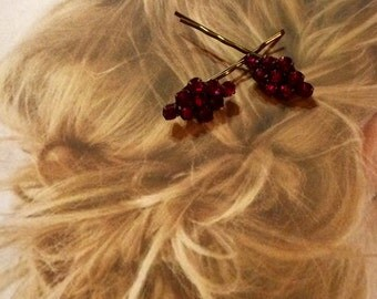 Decorative Hair Pins Jewelry Ruby Red Czech 20-30's Bridal Hairpins Bobby Pins