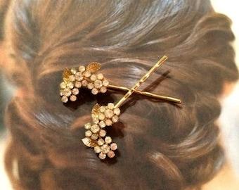 SALEWindyDays Bridal Hair Pins JewelryVintage 50's Gold Weiss Bridal Rhinestone Hairpins Bobby Pins