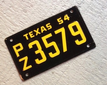 Vintage Texas Cereal License Plate Miniature Bike Plate Industrial Art Supply Wall Decor
