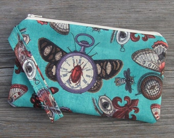 Steampunk Print, Steampunk Fabric, Wristlet Purse, Wristlet Clutch, Cell Phone Wristlet, Bags, Purses, Wristlet iphone Wristlet Gift for her