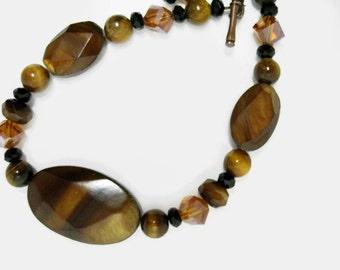 Tiger Eye Beaded Bracelet handmade amber shell beadwork glass