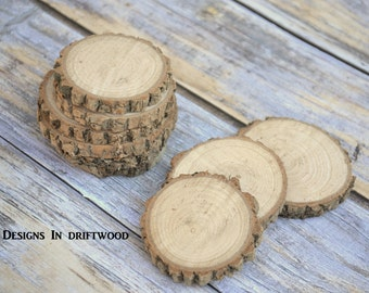 100 -3 1/2- 4 Inch Rustic Wood Slices - Weddings Coasters Anniversary Rustic Events