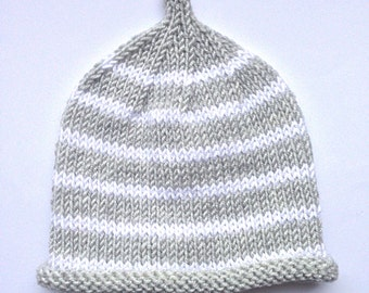Striped PIXIE Hat. Grey and white striped baby hat. Handknitted baby hat. Babyshowergift UK.  Reborn Baby Clothes.