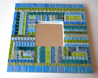 Teal Lime Green Square Mosaic Mirror - Original Art