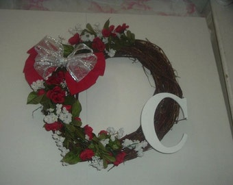 """Red and White Vine Wreath- 20-22 """" across"""