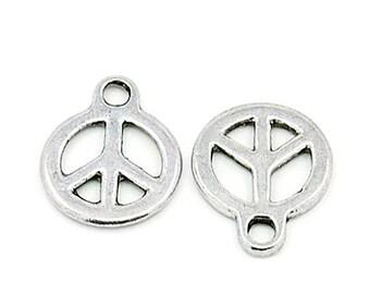 ON SALE Peace Pendant - Peace Charm - Peace Sign - Pendant - Charm - Antique Silver Peace Sign Pendant 10 Pieces