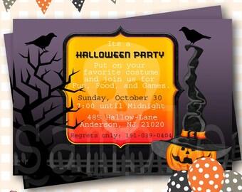 Cloudy Night Halloween Invitations, Spooky Night Halloween Invite, Pumpkin Birthday Invitation, Halloween Birthday Invitations - H52