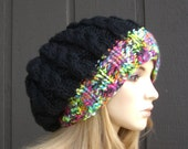 Knit Extra Large Slouchy Beanie Hat Cable Black with Bright Color Band