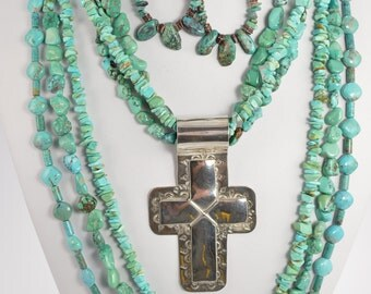 Multi-Strand Turquoise Cross Set