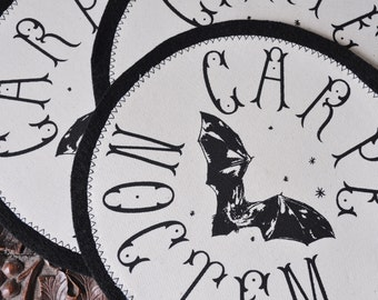Handmade Screen Printed Fabric Apparel 'Carpe Noctem' Patch / Back Patch