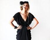 Black open back dress at knee length, Backless black short gown
