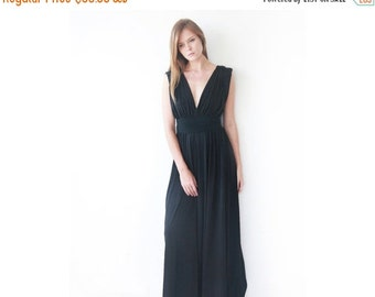 Black maxi floor length dress, Bridesmaids black long dress