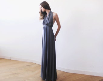 Halter neck grey maxi gown, Backless maxi grey dress, Bridesmaids grey dress 1070
