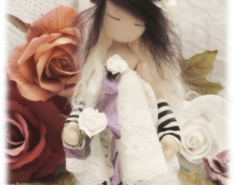 Darcey. beautiful gothic, romantic, hand sewn art doll.